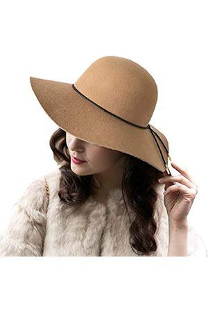 ASSQI Damen Wollfilz Schlapphut Fedora breite Krempe Cloche Bowler Hut faltbar - - Einheitsgröße