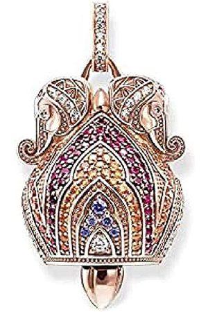 Thomas Sabo Damen-Anhänger Korund-Zirkonia Elefantenkopf Glöckchen Silber vergoldet Rubin rot - PE736-626-7