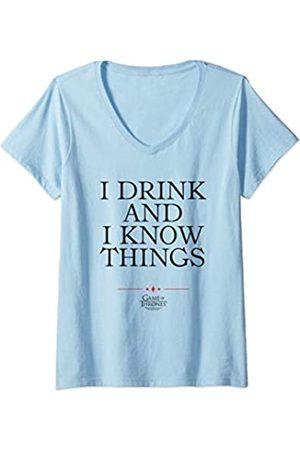 Game of Thrones Damen I Drink T-Shirt mit V-Ausschnitt