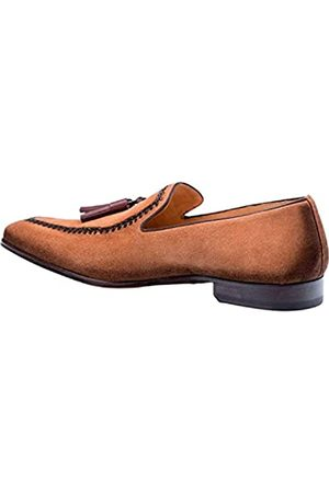 Mezlan Herren Halbschuhe - Plazza Herren Luxus Italienische Loafer – Rich Antiquated Wildleder Schuhe mit Ledersohle – handgefertigt in Spanien – mittlere Breite, (cognac)