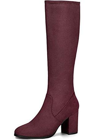 Allegra K Damen Round Toe Reißverschluss Blockabsatz Kniehohe Boots Stiefel 37