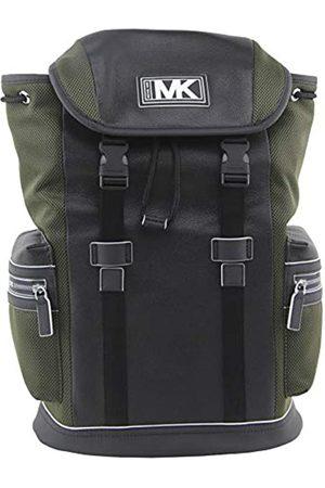 Michael Kors MICHAEL Men's Cooper Leather and Mesh Pocket Backpack In Olive Black