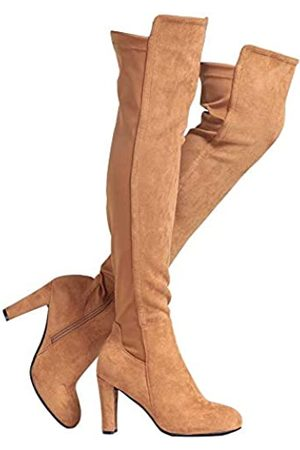 Shoe'N Tale Damen Overknee-Stiefel aus Velourslederimitat mit klobigem Absatz, Stretch, Overknee-hoch, (C-light Brown)