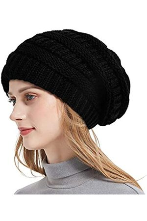 Roniky Winter-Strickmütze für Damen, Seidensatin gefüttert, grobe Kappe, weich, dehnbar, Zopfstrick, warm, lässig