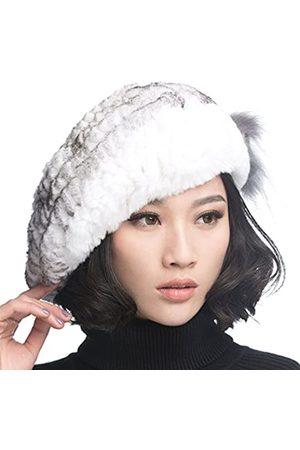 URSFUR USFUR Frauen Mehrfabrige Warme Weiche Mütze Rex Kaninchen Fellmütze Baskenmütze Fedora Barett- mit
