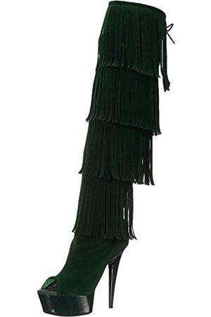 The Highest Heel Damen Amber 305 Oberschenkelhoch offene Zehenpartie Microsuede Fransen Stiefel über dem Knie, Grn