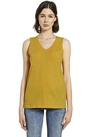 TOM TAILOR Damen V-ausschnitt T Shirt, Deep Golden Yellow