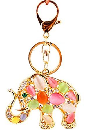 JewelBeauty Schlüsselanhänger mit Elefantenmotiv, Opal, Strass, Schlüsselanhänger, Ring, Taschenanhänger