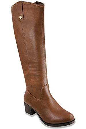 Sugar Damen Reitstiefel mit Absatz Kniehohe Stiefel mit hohem Schaft, (cognac)