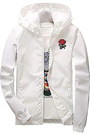Rexcyril Herren Rose Floral Windbreaker Kapuzenjacke Leichte Casual Full Zip Flower Coat - Wei� - Small
