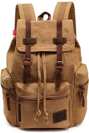HuaChen Vintage-Rucksack aus Segeltuch, für Herren, Reiserucksack für Laptop, Wandern, Schule