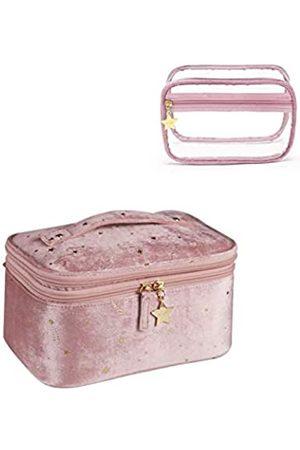 N/W Kosmetiktasche aus Samt mit gestickten Sternen und PVC-Kunststoff-Organizer, transparent