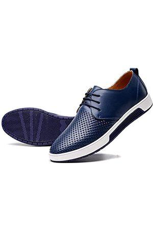 konhill Herren Casual Oxford Schuhe Atmungsaktiv Kleid Schuhe Loafers Schnürer Flache Sneakers, (Lk Navy)