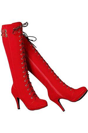 GETMOREBEAUTY Damen Stiefel mit Schnalle, Wildleder, mit Reißverschluss, kniehohe Stiefel