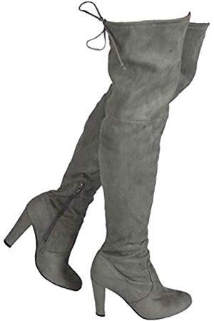 Wild Diva Damen Overknee-Stiefel – Sexy Overknee-Stiefel – trendiger niedriger Blockabsatz Schuh – bequemer Stiefel – (breite Wadenpassform & normale Passform)