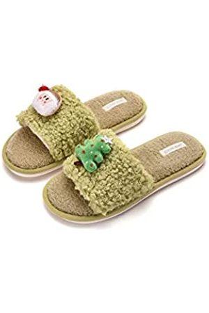 Rsenware Weihnachts-Hausschuhe für Damen, weiches Plüsch, flauschig, gemütlich, offene Zehen, Hausschuhe, rutschfest, harte Gummisohle, Gr�n
