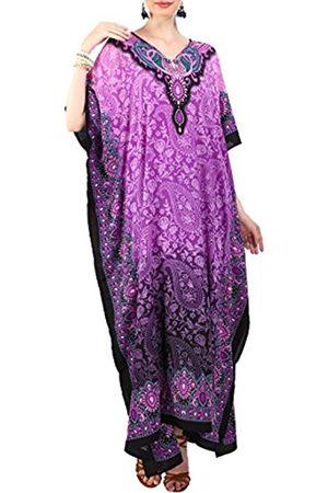 Miss Lavish London Damen Kaftan Tunika Kimono Freie Größe Lang Maxi Party Kleid für Loungewear Urlaub Nachtwäsche Kleider - Violett - Einheitsgröße