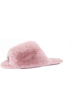 Dechic Damen Fuzzy Kunstfell Hausschuhe Cozy Memroy Foam Open Toe Slide Slippers Weich Bequem Schuhe Sandalen, Pink (rose)