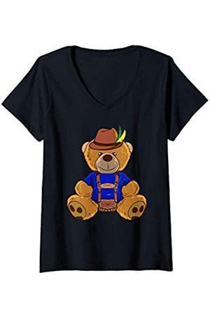 Witzige Lederhose Ersatz Designs Damen Bär mit Lederhose Ersatz Shirt lustiges Bayern Trachten Fans T-Shirt mit V-Ausschnitt