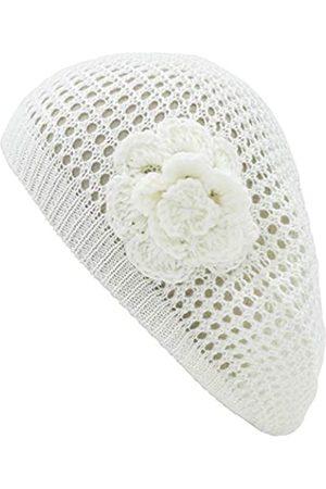 BSB Damen Häkelmütze mit Blumenmotiv, Baskenmütze, modisches Accessoire