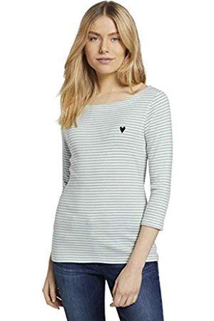 TOM TAILOR Damen 1024035 Stripe T-Shirt, 26035-White Green Small