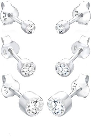 Elli Damen Ohrringe - Ohrringe Basic Set Zirkonia 925 Sterling Silber in , Schmuck für Damen
