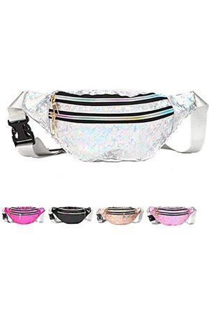OYYF Modische holografische Bauchtasche für Damen und Herren, wasserdichte Hüfttasche mit 3 Taschen mit verstellbarem Riemen für Reisen, Wandern, Einkaufen