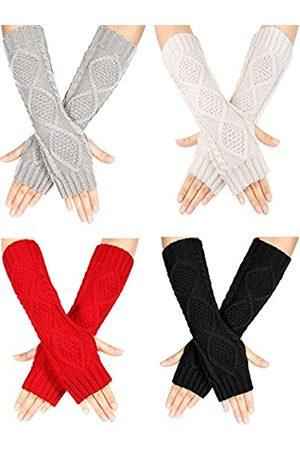 SATINIOR 4 Paare Winter Stricken Warme Lange Handschuh Daumenloch Fingerlose Handschuhe Armstulpen Handschuh für Frauen ( , Hellgrau