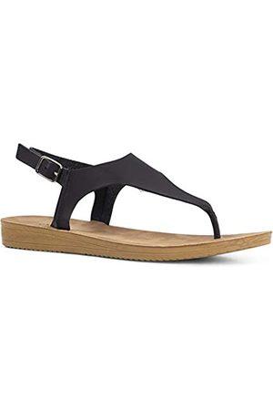 Qupid Flex Sandalen für Frauen – Knöchelriemen, offene Zehenpartie, leger, Keilabsatz, Zehensandale, ( (Black Pu))
