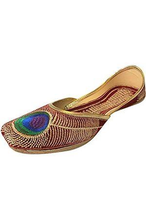 Step N Style Royal Women Traditional Mehroon Peacock Punjabi Indian Jutti Mojari Flip Flops