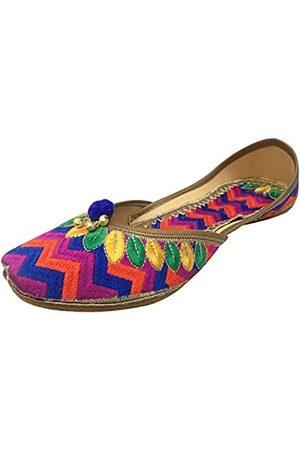 Step N Style Damen Khussa Schuhe Punjabi Jutti Flach Ballett Freizeitschuhe Ethnisch Mojari, (mehrfarbig)