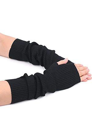 F Flammi Damen Handschuhe - Flammi Damen Strick Armwärmer Handschuhe Warm Kaschmir Lange Fingerlose Fäustlinge mit Daumenloch - - Medium