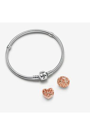 PANDORA Damen Armbänder - Edles Armband & rosévergoldete Herz Charms Geschenkset