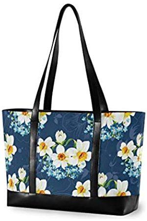 YYYMMM Damen-Handtasche aus Segeltuch mit weißem Blumenmotiv mit großem Fassungsvermögen