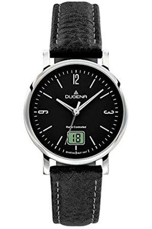 DUGENA Damen-Armbanduhr 4460848 Mondo, Funk, Quarzes Zifferblatt, Edelstahlgehäuse, Saphirglas, Lederarmband, Dornschließe