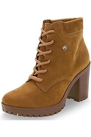 VIA MARTE Damen Combat Boot High Heel Bootie Comfort Style Schwarz, Beige (caramel)