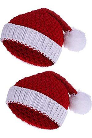 Pangda 2 Stück Weihnachtsmütze Wintermütze Häkelmütze für Damen und Herren (30 x 20 cm)