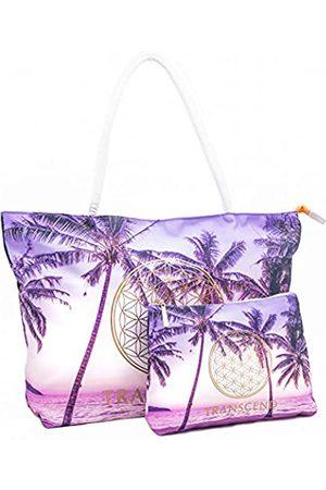 Transcend Lifestyle Strandtaschen für Frauen – 2er-Pack große Strandtaschen und kleinere Strandtasche-Set, eine Bio-Baumwolle, sanddichte Haul it All Tragetasche, Strandtasche, die Männer mögen