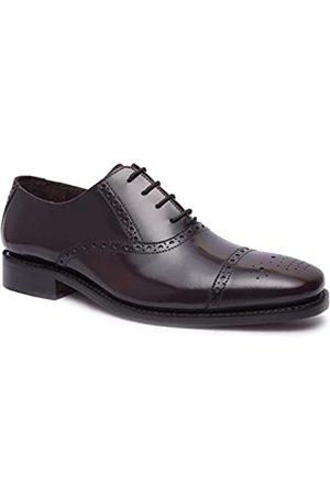 Allonsi Goodyear Schuhe für Herren aus echtem Leder, mit Zehenkappe, formelle Schuhe für Herren, Hochzeitsschuhe für Herren, Ledersohle, handgefertigte Luxus-Lederschuhe, (Wingtip - Bordo.)