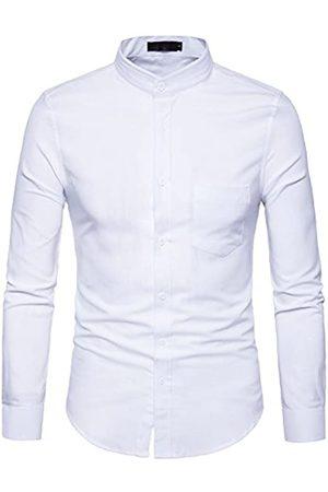 WHATLEES Herren Trachtenshirts - Herren Hipster-Mandarine-Kragen Slim Fit Langarm-beiläufige Button Down Oxford Dress Shirt mit Tasche X-Large T120