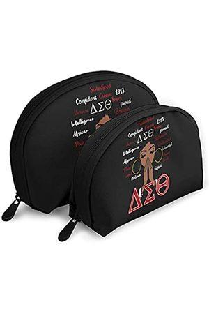 Btueana Delta Sigma Theta Make-up Tasche Kulturbeutel Wasserdicht Kosmetiktasche mit Reißverschluss Reise Packtasche 2 Stück (Weiß) - DST1913-White-48