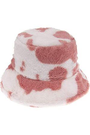 Newfancy Damen Hüte - Damen Mütze mit Milch Kuh Druck Kunstfell Eimer Hut flauschig Winter Wärmer Fischerhut - Pink - Einheitsgröße