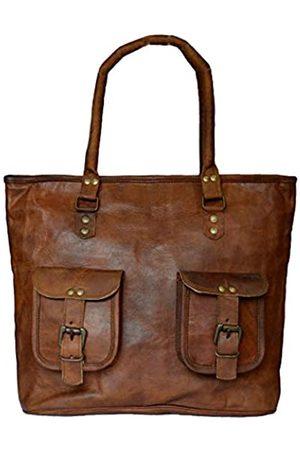 Leather Castle Vintage Leder Tote Bag Damen Handtasche Shopping Reise Schultertasche 40