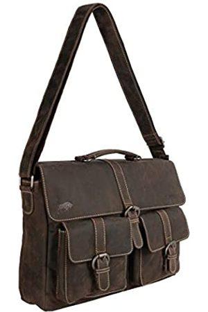 ARRIGO BELLO Leder-Kuriertasche Dunkelbraun für Herren und Damen - Lederlaptoptasche 15.6 Zoll • Business • Schultertasche • Aktentasche • Schultasche • Büffelleder - 39 x 9.5 x 24 cm