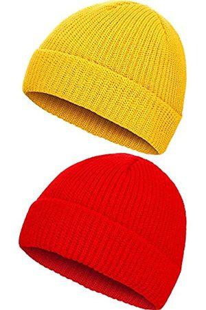 SATINIOR 2 Stücke Winter Warme Mütze Hut Strick Manschette Kappe für Männer Tägliches Tragen ( und )