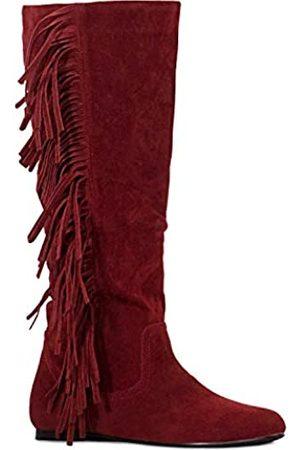 RF ROOM OF FASHION Damen Fransen Western Flach Kniehohe Stiefel (Medium Calf), (Red Su (fällt klein aus, halbe Größe größer bestellen))