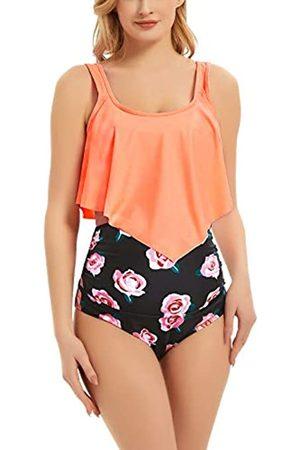 Bhome Umstands-Bikini-Set, zweiteiliger Badeanzug, gerüscht, hohe Taille