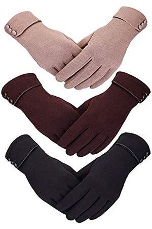 Patelai 3 Paare Frauen Winter Handschuhe Wärmen Touchscreen Handschuhe Windundurchlässig Handschuhe für Frauen Mädchen Winter Verwendung (