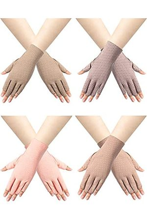 Trounistro 4 Paar Frauen Sunblock fingerlose Handschuhe rutschfest UV Sonnenschutz Dot Handschuhe Fahrhandschuhe für Frauen - mehrfarbig - Mittel