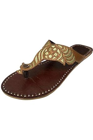 Step N Style Womens Peacock Beaded Sandals Flats Shoes Pakistani Indian Sandals Brown